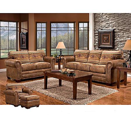 Wild Horses Sleeper Sofa, Loveseat, Chair and Ottoman, 4-Piece Set