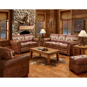 Deer Valley Sleeper Sofa, Loveseat, Chair and Ottoman, 4-Piece Set