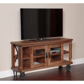 American Furniture Classics Industrial Collection 61 inch wide TV Console with glass doors