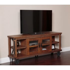 American Furniture Classics Industrial Collection 73 inch wide TV Console with glass doors