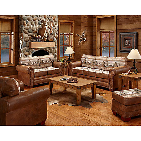 Alpine Lodge Sleeper Sofa, Loveseat, Chair and Ottoman, 4-Piece Set