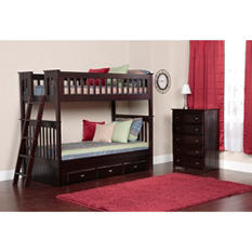 Twin-over-Twin Bunk Bed and 5-Drawer Chest (Assorted Colors)