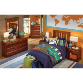 5 Piece Bedroom Set - Twin and Full (Various Colors)