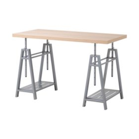 OS Home and Office Adjustable Height Writing Desk with Sturdy Metal Base