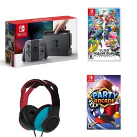 Nintendo Switch (Gray) + Party Arcade + Super Smash Bros. + Wired Headset