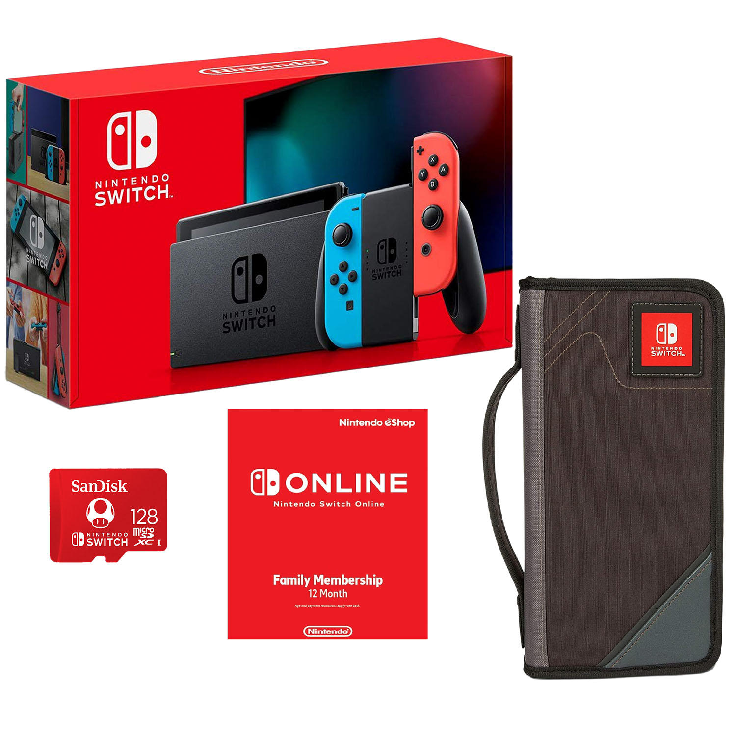 Nintendo Switch All-in-One Bundle with Carrying Case, 12-Month Gaming Membership, 128GB Memory Card