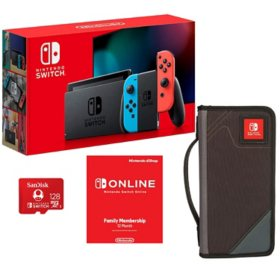Nintendo Switch all in one bundle with carrying case, 12 month gaming membership and 128gb memory card