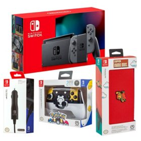 Nintendo Switch Bundle with System, Controller, Case, Car Charger (Gray)