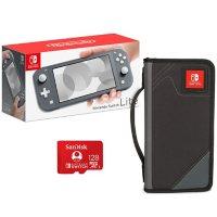 Nintendo Switch Lite (Gray) Bundle with: 1) Nintendo Switch Lite, 2) PowerA Folio Case for Nintendo Switch or Nintendo Switch Lite, 3) SanDisk Nintendo Switch 128GB Micro SD Card