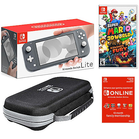 Nintendo Switch Lite Gray Bundle with Super Mario 3D World & Bowser's Fury Game, PowerA Case, and NSO 12 Month Family Membership