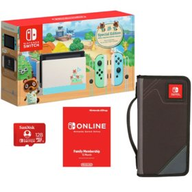 Nintendo Switch All-in-One Bundle with Carrying Case, 12-Month Gaming Membership and 128GB Memory Card (Choose a Color)