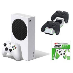 Xbox Series S Bundle with Nyko Charge Base and Lizard Skins Green Controller Grip