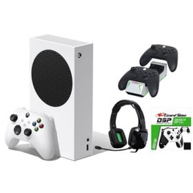 Xbox Series S bundle with Nyko Charge Base, Black Controller Grip, and Tritton Headset
