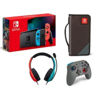 Nintendo Switch Neon with Wired Headset, Nano Wireless Controller, and Folio Case