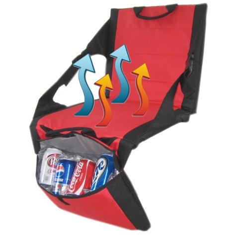 Polar Heat™ Heated and Cooled Stadium Seat with Two Coolers (Red)