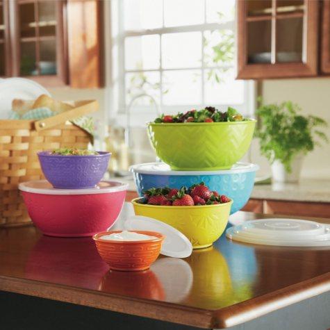 Textured Melamine Mixing Bowls Set - 6 pc.