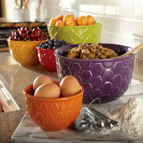 Textured Mixing Bowls Set - 5 pc.