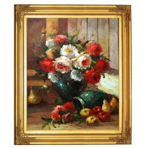 """Framed Hand Painted Oil Art - """"Vase of Flowers"""""""