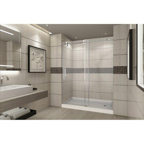 Aston Warwick Sliding Shower Door with Right Base (Chrome Finish)