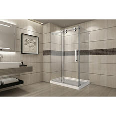 Aston Warwick Sliding Shower Enclosure with Left Base (Chrome Finish)