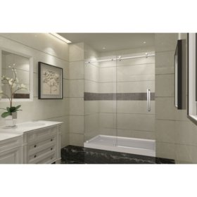 Aston Miramar Sliding Shower Door with Left Base (Chrome Finish)