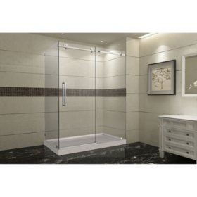 Aston Miramar Sliding Shower Enclosure with Right Base (Stainless-Steel Finish)