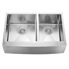"""VIGO 33"""" Farmhouse Stainless Steel 16-Gauge Double-Bowl Kitchen Sink"""