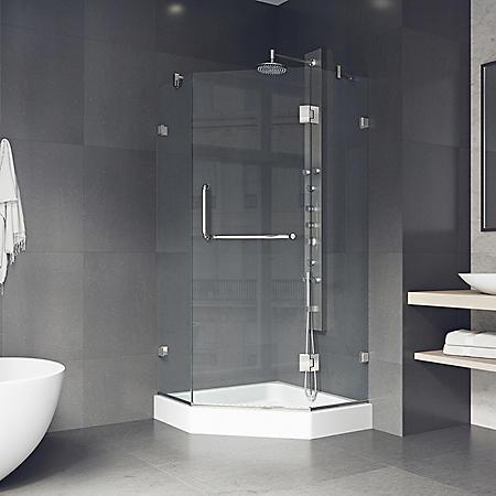 Vigo Piedmont Frameless Neo-angle Shower Enclosure with Base