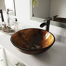 VIGO Russet Glass Vessel Bathroom Sink