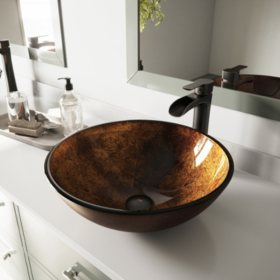 VIGO Russet Glass Vessel Bathroom Sink