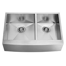 """VIGO 36"""" Farmhouse Stainless Steel 16-Gauge Double-Bowl Kitchen Sink"""