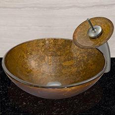 VIGO Textured Copper Glass Vessel Bathroom Sink
