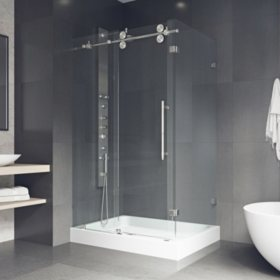 Vigo Winslow Frameless Sliding Door Shower Enclosure with Left Drain Base