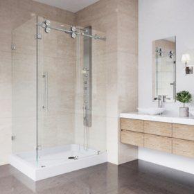 Vigo Winslow Frameless Sliding Door Shower Enclosure with Right Drain Base