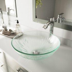 VIGO Icicles Glass Vessel Sink and Faucet Set - Chrome