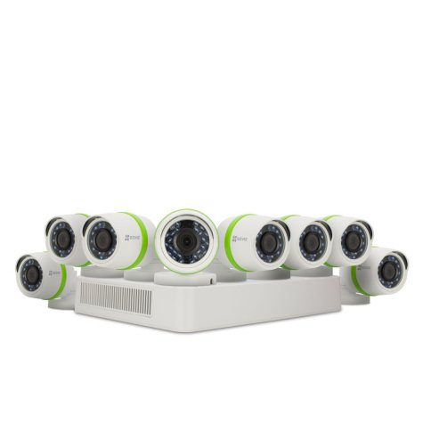 EZVIZ 8-Channel 1080p HD Security System with 2TB HDD, 8 1080p Bullet Cameras, and 100' Night Vision