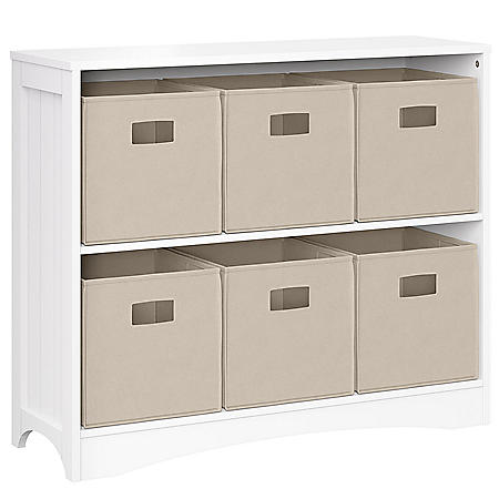 RiverRidge White Horizontal Bookcase with 6 Bins, Assorted Colors