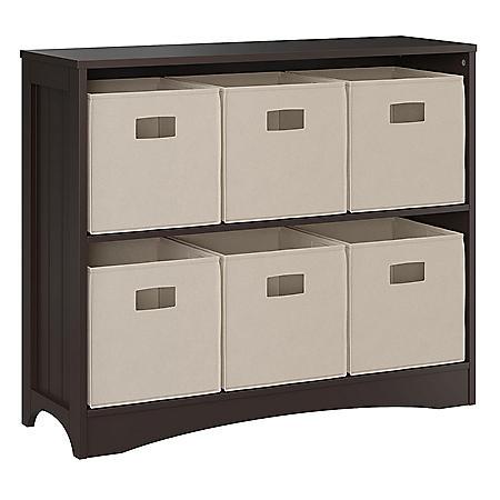 RiverRidge Espresso Horizontal Bookcase with 6 Bins, Assorted Colors
