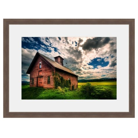 Framed Fine Art Photography - Old Red Barn Under Painted Skies By Jordan Stern