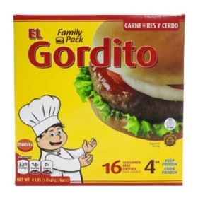 El Gordito Seasoned Beef Patties, Frozen (16 pk., 4 lb.)