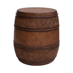 Cast Stone Drum Table, Caramel