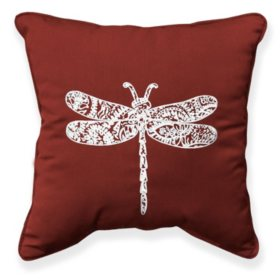 "17"" Outdoor Toss Pillow - Sunbrella Canvas Henna fabric with Dragonfly Embroidery"