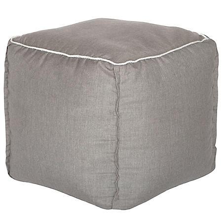Outdoor Pouf - Sunbrella Cast Shale Fabric