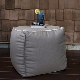 Magnificent Outdoor Pouf Sunbrella Cast Shale Fabric Sams Club Machost Co Dining Chair Design Ideas Machostcouk