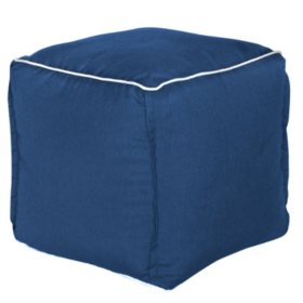 Outdoor Pouf - Sunbrella Spectrum Indigo Fabric
