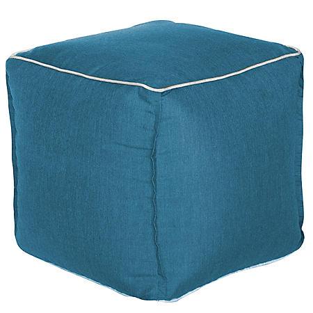 Outdoor Pouf - Sunbrella Cast Lagoon Fabric