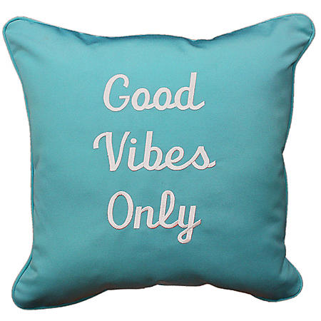 """Embroidered Decorative Outdoor Accent Pillow with Sunbrella Fabric, 18"""" x 18"""""""