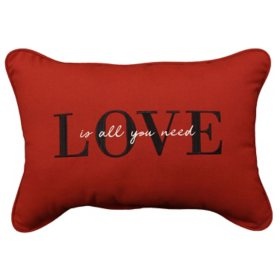 "Embroidered Outdoor Decorative Accent Pillow in Sunbrella Fabric, 14"" x 20"""