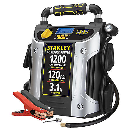 Stanley 1200 Peak Amp Jump Starter & Power Station with 120 PSI Compressor