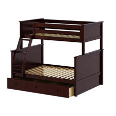 Twin over Full Bunk Bed with Trundle Bed (Assorted Colors)